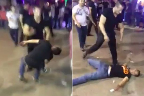 Bouncer knocks troublemaker out cold.