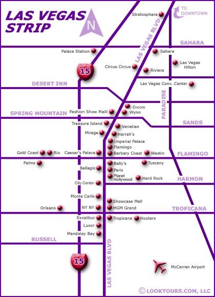 Map of the Las Vegas Strip