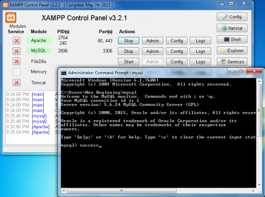 Testing MySQL commands on cmd.exe on windows with XAMPP control panel