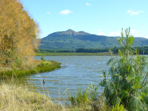 The lake with Mount Gubu in the background