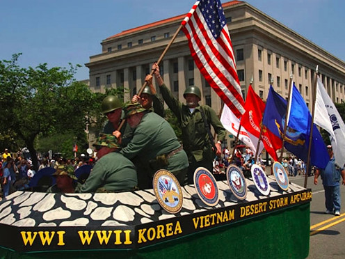 This float is in respect to veterans who fought in wars to help keep America a free nation.