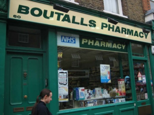An NHS pharmacy / chemist's in central London