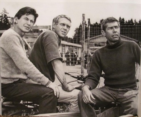 "One of Coburn's ""keys to success,"" was always hanging with the elite of his craft. In this photo are two of the best in film: from left, Charles Bronson and Steve McQueen and Coburn."