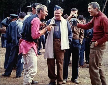 "Coburn seen goofing-off during a break in the filming of ""The Great Escape."""