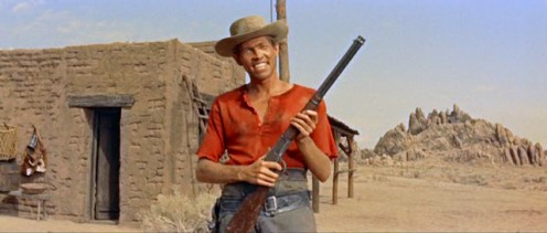 "Coburn in a scene from ""The Magnificent Seven."""