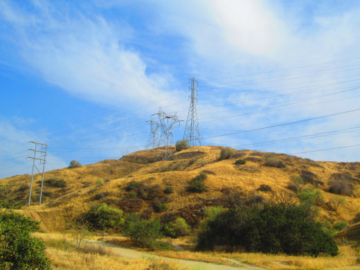 Pylons on top of the hill.