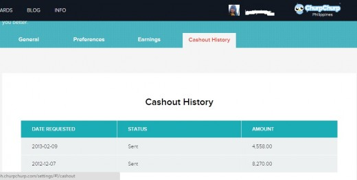 My cashout history in Churpchurp Philippines