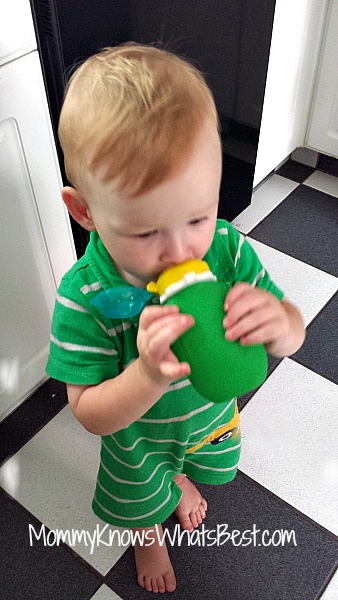 My son using a Squeasy Snacker. I reviewed these on my blog Mommy Knows What's Best.