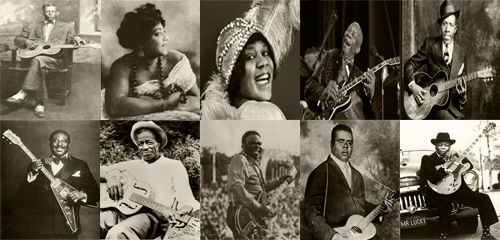 (Top row from left to right: Charley Patton, Mamie Smith, Bessie Smith, B.B. King, Robert Johnson) (Bottom raw from left to right: Albert King, Son House, Freddie King, Blind Lemon Jefferson, John Lee Hooker)
