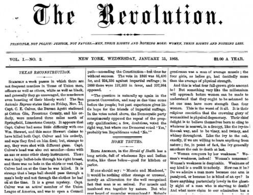 Front page of The Revolution, January 15, 1868