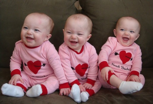 It would be challenging to write many letters if I had these darling triplets to care for.