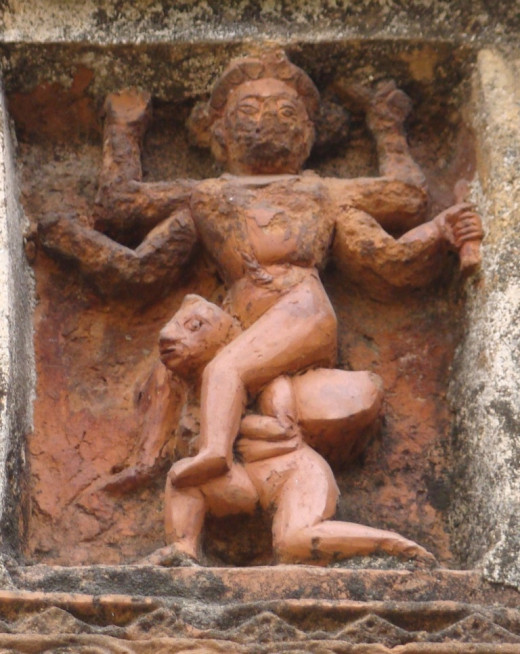 Garuda with Lord Vishnu on his back  in terracotta in a temple of West Bengal 2