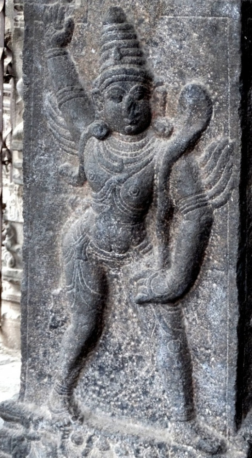 Garuda in stone from a temple in Kanchipuram, Tamil Nadu; India 1