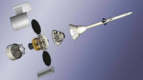 A proposed launch configuration for the Orion spacecraft (crew module in the center of the figure).