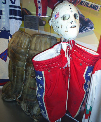 Jim Craig's gear, immortalized in the hall of fame.