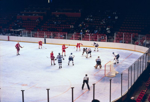 In game photo of the Miracle on Ice.