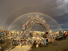 Bridge of Bikes under double rainbow