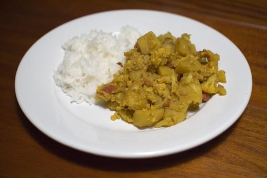 Cauliflower Potato Subzi served with rice