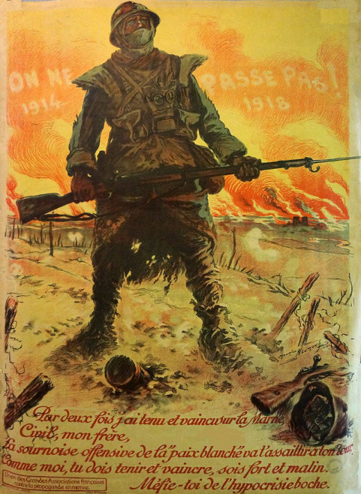 "A French poster saying ""They shall not pass"" in reference to the outbreak of the war and the threat on French borders. Painted by Maurice Neumont"