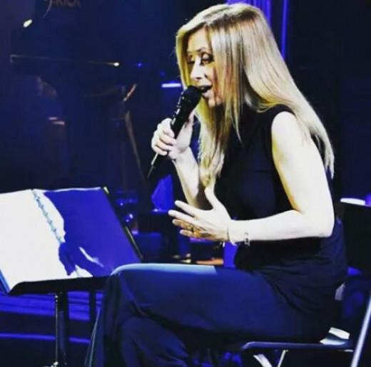 "Lara Fabian rehearsing in Prague for her ""Best Of"" tour concert. June 5, 2015."