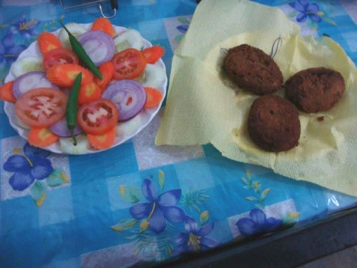 Fish Cutlets served with a salad