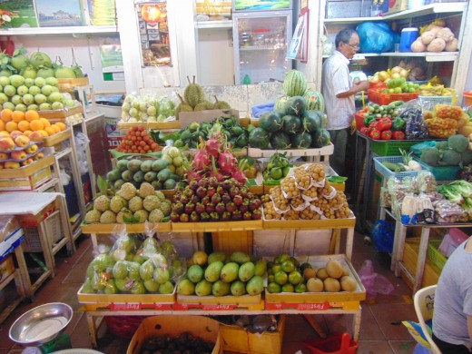 Just another fruit market in Southeast Asia