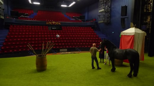 Rehearsal with horse in Donizetti's Elisir d'amore