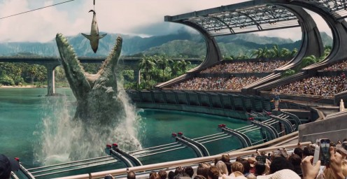 One of Jurassic World's star attractions, the Mosasaurus Feeding Show.