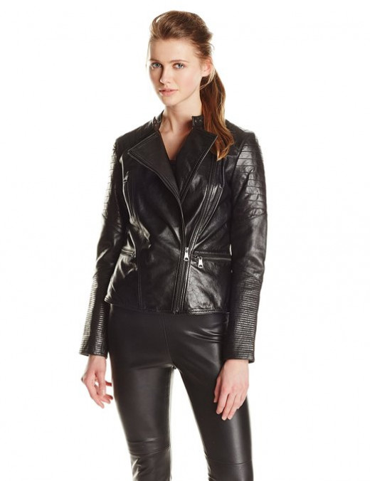 Moto-inspired leather jacket with asymmetric front zipper and quilted panels on sleeves