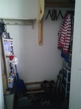 Finished hall closet (see 1st project)  with organizer, coat rack that features a carved boat on one side, shoe rack, and peg board for bags and accessories.
