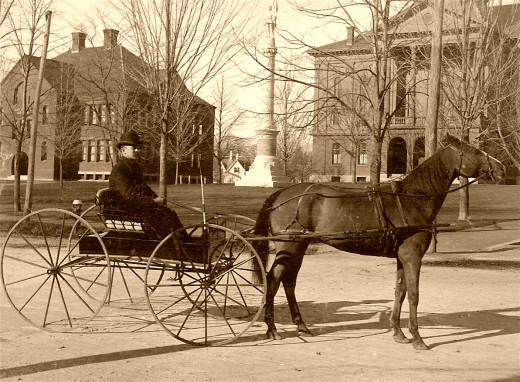 Horse and Carriage, South Main Street, Middleborough, MA, photograph, c. 1898 Sulkies and racing style have both changed significantly last decade but horses are still the  stars of the show.