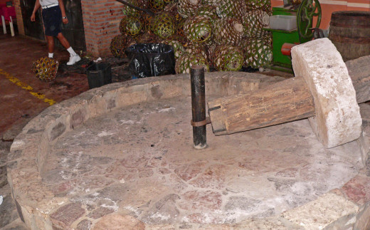 A historic tahona, used to crush agave fibers and extract the aguamiel from roasted piñas in the making of tequila and other mescals. Some distillers are returning to the use of this stone for some of their most pricey tequilas.