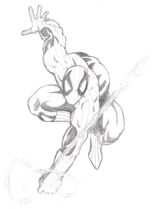 A finished spiderman pencil drawing, the only thing I have left out is the webbing, because I usually leave that for the inking stage.