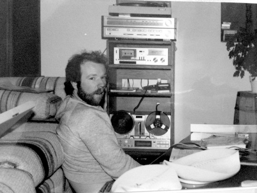 An old photo of my dad busy with his music.