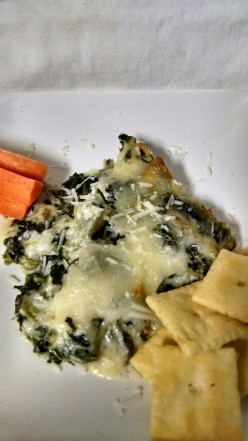Luscious Baked Spinach and Artichoke Dip with Baked Sweet Potato Chips