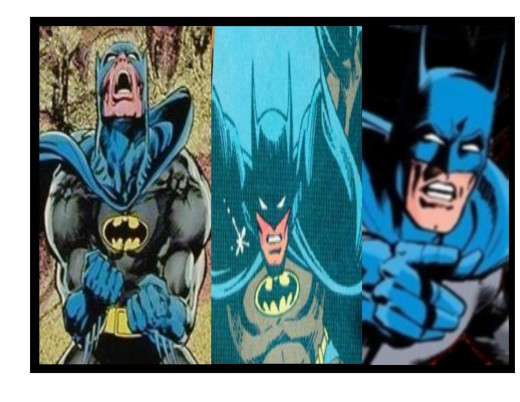 Batman, as illustrated by (from left-to-right): Neal Adams; Marshall Rogers and Terry Austin; and Dick Giordano.