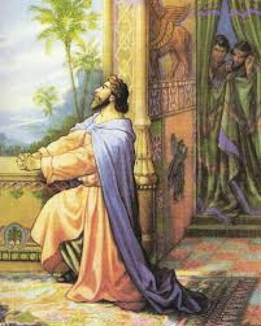 Daniel praying, drawing by Otto Semier