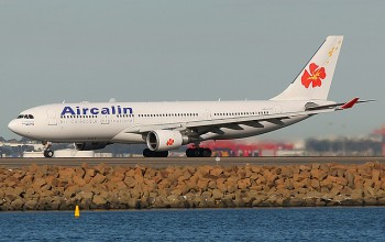 An Aircalin Airbus A330-300 landing at Sydney's Kingsford Smith International Airport's runway-34L