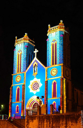 Noumea Cathedral lit up in blue