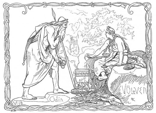 """Odin and the Voluspa"" (1895) by Lorenz Frølich"