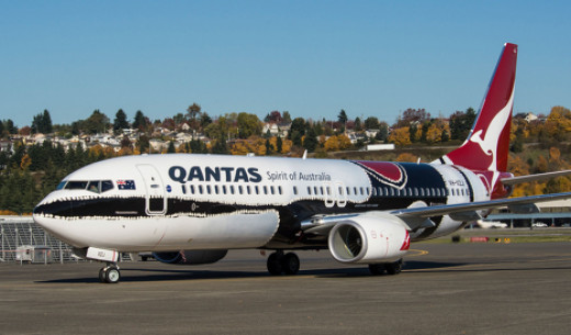 A Qantas Boeing 737-800NG coloured in 'Mendoowoorrji' livery - this is the exact model that flew us back from Noumea to Sydney
