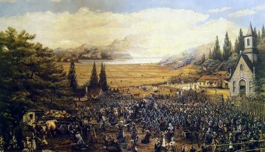 Expulsion of the Acadians - Grand-Pré: Deportation of the Acadians, by  1893 painting, depicting an event in 1755