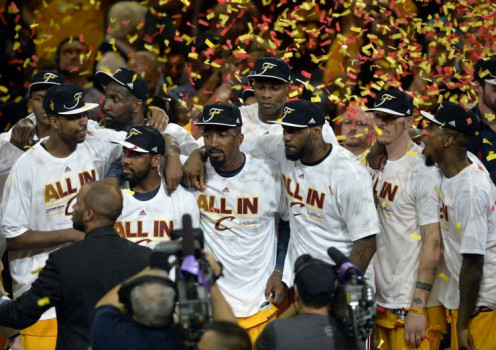 The Cleveland Cavaliers at center court during the Eastern Conference Championship presentation.