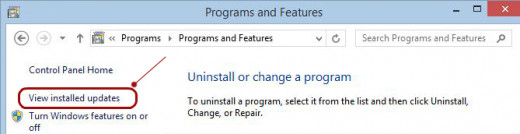 Navigate your way to your installed updates