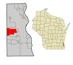 Red location of West Allis in relation to Milwaukee City near Lake Michigan, Milwaukee County, and the state of Wisconsin