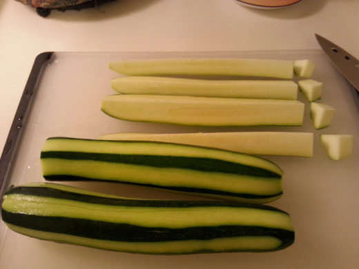 Cut off and discard ends, quarter lengthwise, then slice in 1/2 inch pieces.
