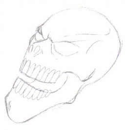 The whole of the skull design has been defined now by adding the teeth and a jaw line aswell as the nose holes and the eyes.