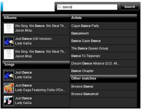 The suggested results when searching for 'dance' using We7.