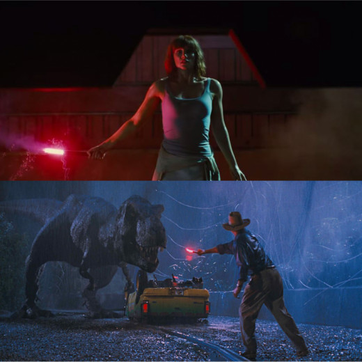 Both films utilized red flares when drawing the attention of a T-Rex.