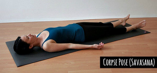 In Corpse Pose (Savasana) one needs to stay still and relaxed like a dead body while the actual motive is to control the mind with slow breathing - thebackhealer